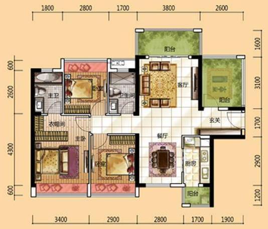 龙光城北11,12栋j户型图 3室2厅2卫 建筑面积:110平米